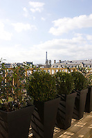The roof garden with stunning views across the rooftops of the 7th arrondissement to the Eiffel Tower beyond
