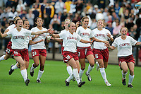 Stanford celebrates after defeating California  to win 7-6 in a penalty kick shootout in the first round of the NCAA Tournament, Stanford, Calif., Sunday, Nov. 18, 2007.