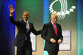 Former United States President Bill Clinton and U.S. President Barack Obama depart following Obama's remarks at the Clinton Global Initiative gathering Wednesday, September 21, 2011 at the Sheraton New York Hotel and Towers in New York, New York..Credit: Aaron Showalter / Pool via CNP