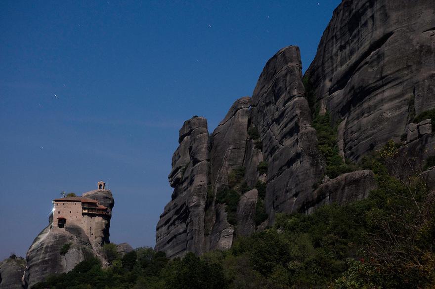 Greece, Meteora, Agios Nikolaos (St, Nicholas) Anapafsas Monastery in Moonlight