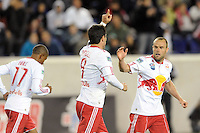 Juan Pablo Angel (9) of the New York Red Bulls celebrates scoring. The New York Red Bulls defeated FC Dallas 2-1 during a Major League Soccer (MLS) match at Red Bull Arena in Harrison, NJ, on April 17, 2010.