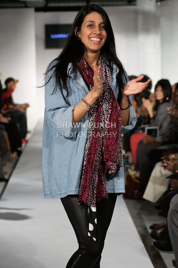 Colombian fashion designer Laura Daza, walks runway at the close of her Laura Daza Fall 2012 collection fashion show, during BK Fashion Weekend Fall Winter 2012.