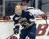 Andy Ryan (ND - 6), Adam Gilmour (BC - 14) - The visiting University of Notre Dame Fighting Irish defeated the Boston College Eagles 7-2 on Friday, March 14, 2014, in the first game of their Hockey East quarterfinals matchup at Kelley Rink in Conte Forum in Chestnut Hill, Massachusetts.