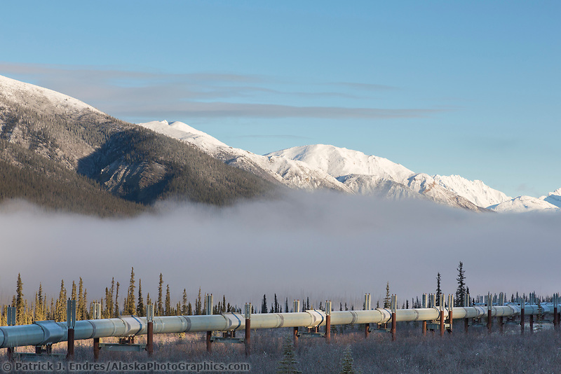 Trans Alaska Pipeline crosses the tundra in the Brooks Range, Alaska.