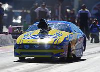 Oct. 26, 2012; Las Vegas, NV, USA: NHRA pro mod driver Mike Janis during qualifying for the Big O Tires Nationals at The Strip in Las Vegas. Mandatory Credit: Mark J. Rebilas-