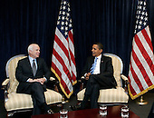 Chicago, IL - November 17, 2008 -- United States President-elect  Barack Obama, right, meets with former Republican presidential candidate United States Senator John McCain (Republican of Arizona), left, at Obama's transition office Monday, November 17, 2008, in Chicago, Illinois. .Credit: Frank Polich - Pool via CNP