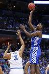 Kentucky Wildcats forward Bam Adebayo puts up a jumper over North Carolina Tar Heels forward Kennedy Meeks during the 2017 NCAA Men's Basketball Tournament South Regional Elite 8 at FedExForum in Memphis, TN on Friday March 24, 2017. Photo by Michael Reaves | Staff