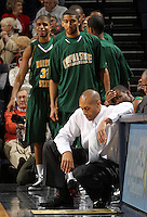 Dec. 20, 2010; Charlottesville, VA, USA; Norfolk State Spartans head coach Anthony Evans reacts to the 50-49 loss to the Virginia Cavaliers  at the John Paul Jones Arena. Mandatory Credit: Andrew Shurtleff