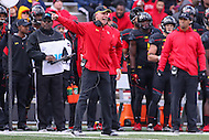 College Park, MD - November 26, 2016: Maryland Terrapins head coach DJ Durkin yells during game between Rutgers and Maryland at  Capital One Field at Maryland Stadium in College Park, MD.  (Photo by Elliott Brown/Media Images International)