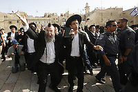 "Ultra orthodox Jewish men protest against the ""Women of the Wall"" organization praying at the Western Wall, Judaism's holiest site, in Jerusalem."