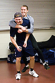 Gustav Nyquist (Maine - 89) and Mike Banwell (Maine - 4) joke around following off-ice warmups. - The Boston College Eagles defeated the visiting University of Maine Black Bears 4-0 on Friday, November 19, 2010, at Conte Forum in Chestnut Hill, Massachusetts.
