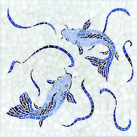Koi Fish, a hand cut jewel glass mosaic shown in Lapis Lazuli, Iolite, and Covelite with Absolute White Sea Glass™, is part of the Delft Collection by Sara Baldwin for New Ravenna Mosaics.