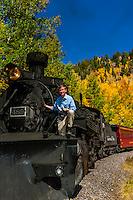 USA-Colorado-Cumbres & Toltec Scenic Railroad-Autumn-Governor Hickenlooper Visit