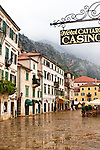 A wet street in Kotor during a rainstorm, Montenegro