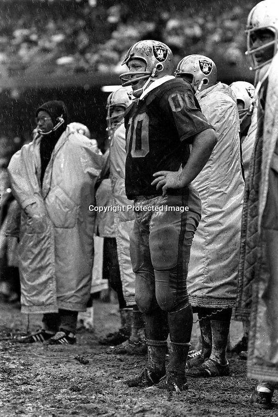 Oakland Raider Hall of Fame center Jim Otto standing in the mud along the sideline cheering for the defense. .(1970 photo by Ron Riesterer)