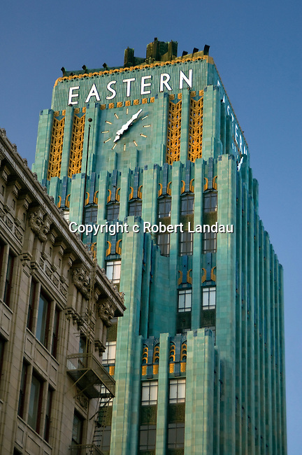 Art Deco clock tower of the Eastern Building in downtown Los Angeles