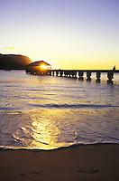 Sunset at Hanalei peir, on the north shore of Kauai