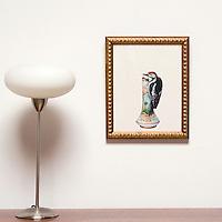 "Kroll: Woodpecker on Vase, Digital Print, Image Dims. 14"" x 11"", Framed Dims. 16.5"" x 13"""