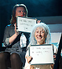 Plaques &amp; Tangles<br /> by Nicola Wilson<br /> at The Royal Court Theatre, London, Great Britain <br /> press photocall<br /> 16th October 2015 <br /> <br /> <br /> directed by Lucy Morrison<br /> <br /> <br /> <br /> Monica Dolan as Old Megan <br /> <br /> Brid Brennan as Eva <br /> <br /> <br /> <br /> Photograph by Elliott Franks <br /> Image licensed to Elliott Franks Photography Services