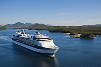 "Celebrity Cruise liner ""Infinity"" travels in the Tongass Narrows near Ketchikan, Alaska."