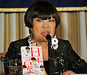 "December 13, 2011, Tokyo, Japan - Junko Koshino, Japans celebrated avant-garde designer, shows her new book, ""Word by Koshino Ayako,"" during a news conference at Tokyos Foreign Correspondents Club of Japan on Tuesday, December 13, 2011. The designer talked about Ayako Koshino, her mother who has inspired her and her two other sisters by setting up a western clothes shop in the turbulent days immediately after the end of World War II. The story was recently adapted in a TV drama series. (Photo by Natsuki Sakai/AFLO) [3615] -mis-"