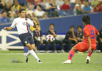 Sal Zizzo crosses the ball past Sang Ho Lee. Republic of Korea met USA in the second game of a doubleheader at the Olympic stadium, Montreal, Canada on June 30 2007, in the opening game of the FIFA U20 World. The game ended in a 1-1 tie.