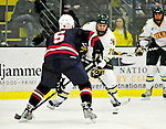 29 December 2010: University of Vermont Catamount defenseman Dan Lawson, a Senior from Oak Forest, IL, in action against the 2011 U.S. Men's National University Team in an exhibition game at Gutterson Fieldhouse in Burlington, Vermont. The Catamounts defeated the National team 7-1. Mandatory Credit: Ed Wolfstein Photo