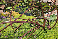 Dan Johnson took some scarp iron and created a quirky sculpture and set it amid a bed of thyme in his Dener garden.