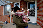 """Kendrick Brinson.LUCEO..Adrianne Ireland hugs her daughter Tatiana, 6, outside of her family's apartment in oil boom-town Williston, North Dakota in January 2012..Adrianne temped at Precision Drilling last year, but now bartends at a popular bar called Whispers..The population of Williston has almost doubled since Adrianne was in high school, she said, and milk prices have gone up with population..Adrianne's mother, Peggy Adrin said the town has """"really changed a lot"""" since she first moved there 30 years ago. """"When we first moved here, there was nothing,"""" she said. Williston, North Dakota is currently experiencing an influx of people relocating there for the town's third oil boom...Model Released: Yes.Assigning Editor: Michael Wichita."""