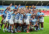 Argentina U20 players celebrate with a post-match selfie. World Rugby U20 Championship 3th Place Play-Off between Argentina U20 and South Africa U20 on June 25, 2016 at the AJ Bell Stadium in Manchester, England. Photo by: Patrick Khachfe / Onside Images