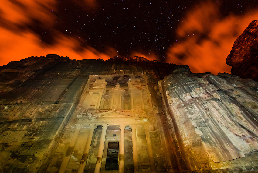 The Treasury monument (Al-Khazneh) at night, Petra archaeological site (a UNESCO World Heritage site), Jordan.