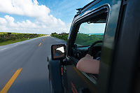 Driving On Empty oceanside Road, Cozumel, Mexico