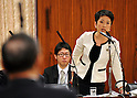 April 3, 2012, Tokyo, Japan - Renho (single name), a member of parliament, asks questions to Kazuhiko Asakawa, backto camera, president of AIJ Investment Advisors Co. during a Diet upper house financial committee meeting probing into the pension fund scam in Tokyo on Tuesday, April 3, 2012...Asakawa was reported to have concealed trading losses and fabricated reports on the assets managed to attract pension funds. AIJ oversaw 145.8 billion yen of clients money and lost 109.2 billion yen from derivatives trades directed by Asakawa over nine years, according to the media reports. (Photo by Natsuki Sakai/AFLO) AYF -mis-.