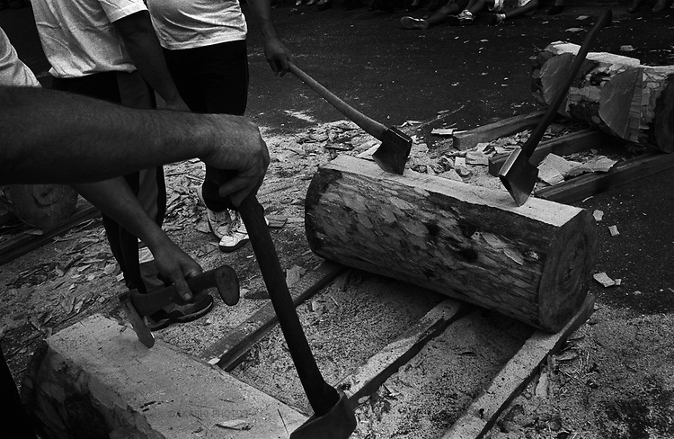 Aizkolaritza, wood chopping competition in Basque Country.