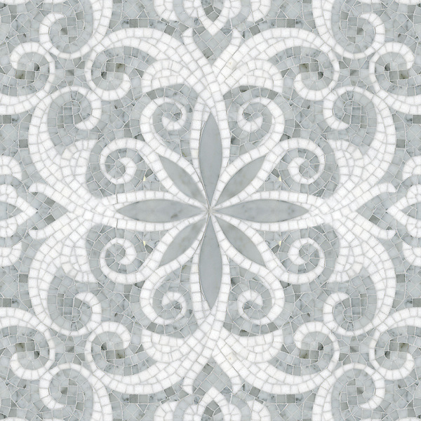 Arabella, a waterjet and hand-cut stone mosaic, shown in polished Carrara and Thassos, is part of the Silk Road Collection by Sara Baldwin for New Ravenna Mosaics.<br />
