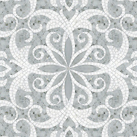 Arabella, a natural stone waterjet and hand cut mosaic shown in Carrara and polished Thassos, is part of the Silk Road Collection by Sara Baldwin for New Ravenna Mosaics.<br />