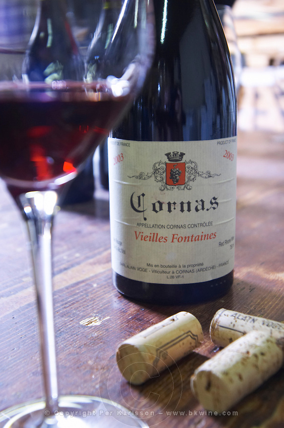 bottle glass corks vieilles fontaines 2003 dom a voge cornas rhone france