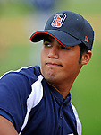 17 June 2008: Oneonta Tigers pitcher Aaron Fuhrman warms up prior to Opening Day against the Vermont Lake Monsters at historic Centennial Field in Burlington, Vermont. The Lake Monsters defeated the Tigers 6-4 in the first game of their three-game season opening series in Vermont...Mandatory Credit: Ed Wolfstein Photo