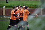 Prescot Cables 2 Brighouse Town 1, 13/02/2016. Hope Street, Northern Premier League. Prescot Cables players celebrating their team's opening goal in the first-half as they take on Brighouse Town in a Northern Premier League division one north fixture at Valerie Park. Founded in 1884, the 'Cables' in their name came from the largest local employer, British Insulated Cables and they have played in their current ground, also known as Hope Street, since 1906. Prescott won the match 2-1 watched by a crowd of 189. Photo by Colin McPherson.
