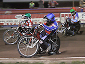 Heat 9 - Bjerre (green), Lanham (blue), Kasprzak - Lakeside Hammers vs Peterborough Panthers - Sky Sports Elite League at Arena Essex, Purfleet - 31/08/07  - MANDATORY CREDIT: Gavin Ellis/TGSPHOTO - SELF-BILLING APPLIES WHERE APPROPRIATE. NO UNPAID USE. TEL: 0845 094 6026..