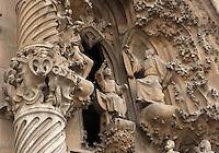 Jesus proclaiming himself son of God, Faith hallway, Nativity façade, La Sagrada Familia, Barcelona, Catalonia, Spain, Roman Catholic basilica, built by Antoni Gaudí (Reus 1852 ? Barcelona 1926) from 1883 to his death. Still incomplete. Picture by Manuel Cohen