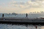 ISRAEL Tel Aviv<br /> Fishermen early morning at the Jaffa Port.
