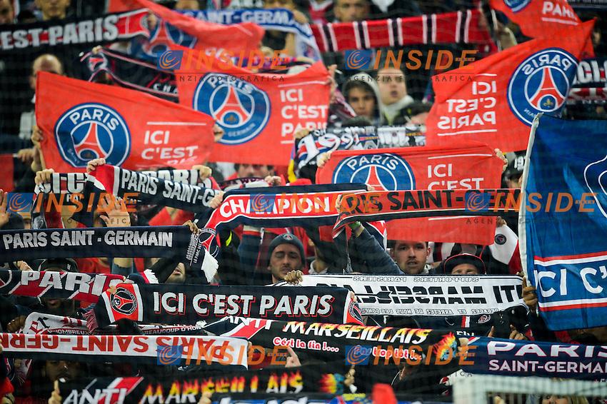 Tifosi PSG <br /> Football Calcio 2014/2015<br /> Ligue 1 Francia Stadio VelodromeOlympique Marsiglia - Paris Saint Germain <br /> Foto Panoramic / Insidefoto <br /> ITALY ONLY