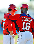 7 March 2011: Washington Nationals' outfielder Bryce Harper (left) get some words from third base coach Bo Porter during a Spring Training game against the Houston Astros at Space Coast Stadium in Viera, Florida. The Nationals defeated the Astros 14-9 in Grapefruit League action. Mandatory Credit: Ed Wolfstein Photo