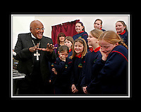 17/02/2009. Archbishop Desmond Tutu speaking to children from st. Jospehs School, Ballymun at the official unveiling of the Music Room at St Joseph's School, Ballymun.  Designed and built by Ballymun Regeneration Ltd for all school children and the entire community, the Music Room is Ballymun Music Programme's first dedicated practice and performance space.. Photo: Gareth Chaney Collins