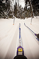 First person POV point of view photography of Nordic cross country skiing at Valley Spur ski area of the Hiawatha National Forest near Munising Michigan on Michigan's Upper Peninsula.