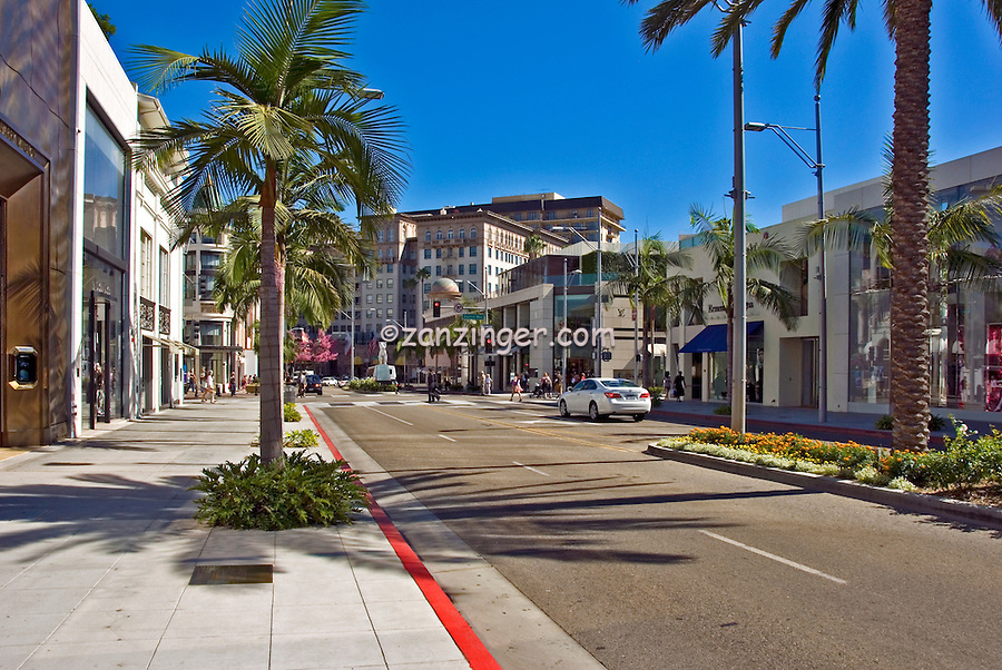 Rodeo Drive, Beverly Wilshire Hotel, Luxury Shopping stores, Beverly Hills, CA,
