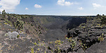 Hawai'i Volcanoes National Park, Big Island of Hawaii, Hawaii; a panoramic view of the Pauahi crater along the Chain of Craters Road