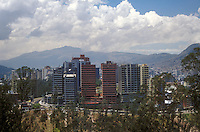 Highrise condominiums and office buildings in new Quito, Ecuador