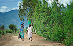 Women walking in Dofu, an area in northern Malawi which has been hit hard by drought and hunger.